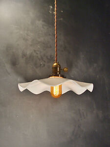 Subway Breeze Pendant Lamp Vintage Industrial Hanging Light With Ruffle Shade