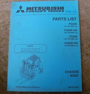 Mitsubishi Caterpillar Fg 20 25k ho Forklift Parts Manual Catalog Book Spare Cat