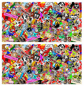 2 Sticker Bomb Sheets Jdm Honda Decal 15 X 30 Each 3m Wrap Vinyl Hd Gloss