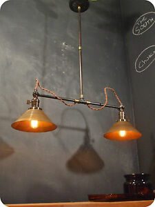 Vintage Industrial Double Shade Ceiling Sconce Machine Age Pendant Lamp Light