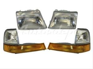 For 1998 2000 Ford Ranger Headlight Park signal Side Marker Light 4 Pcs