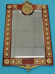 Italian Wood Frame Mirror With Beveled Glass Porcelain Medallions
