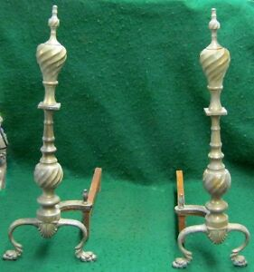 Pair Of Vintage Brass Fireplace Andirons 1679 13