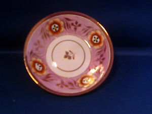 Antique 19th Century Pearlware Pink Luster Plate With Painted Flowers