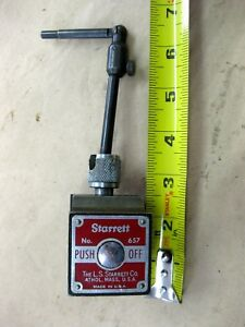 Starrett Push Button Magnetic Indicator Base Locking Swivel Holder No 657 Usa