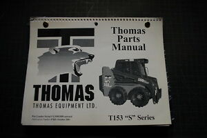 Thomas T153 S Skid Steer Loader Parts Manual Book Catalog Spare List Shop 2001