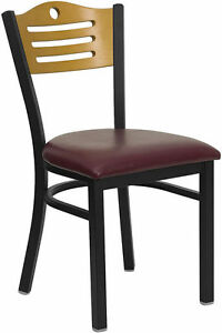 New Restaurant Metal Chairs Wood Back Burgundy Padded Seat They Last Forever