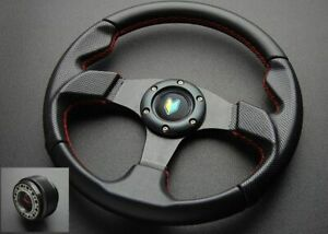 Honda Acura Black Red Stitch Steering Wheel Beginner Horn Button 48 Hub Adapter