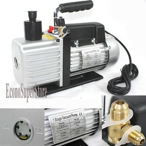 Single Stage Gas Hvac Ac 5 Cfm 1 3hp Rotary Vane Vacuum Pump R134a R22 R410a