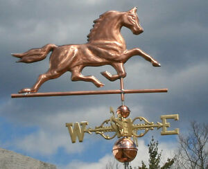 Sweet Copper Horse Weathervane W Scrolled Directionals 417 Made In Usa