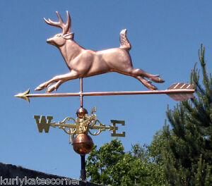 Large Copper Deer Weathervane W Arrow Scrolled Directionals 126