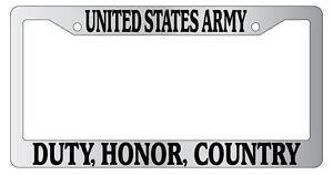 Chrome License Plate Frame United States Army Duty Honor Country Auto 149