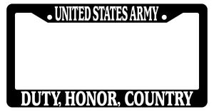 Black License Plate Frame United States Army Duty Honor Country Auto Novelty 149