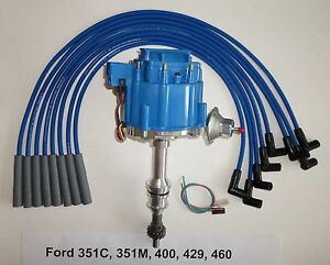 Big Block Ford Hei Distributor 351c 351m 400 429 460 Blue Spark Plug Wires Usa