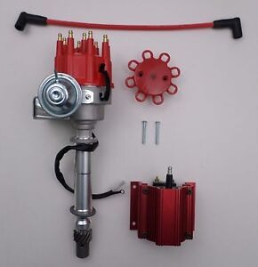 Chevy Small Big Block Ready to run Red Small Cap Hei Distributor 50k Volt Coil