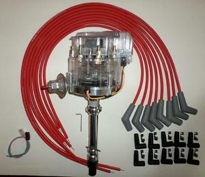 Bbc Chevy 396 427 454 Clear Cap Hei Distributor Red Cut To Fit Spark Plug Wires