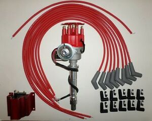 Bbc Chevy 396 454 Red Small Hei Distributor coil universal Spark Plug Wires 45 s