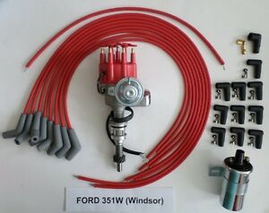 Ford 351w Red Small Cap Hei Distributor 45k Coil Universal Spark Plug Wire 45