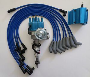 Small Block Ford 289 302 Blue Small Cap Hei Distributor Coil Spark Plug Wires