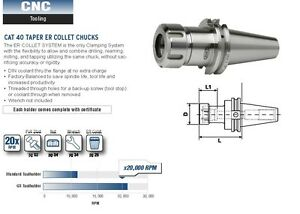 Gs Tooling Cat 40 Taper Er 16 Collet Chucks 20k Rpm 2 5 Projection 531 406