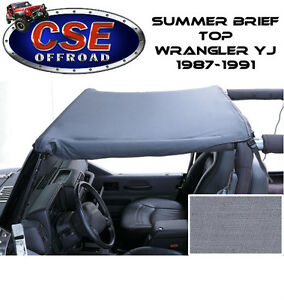 Gray Summer Brief Top For Jeep Wrangler Yj 1987 1991 13573 09 Rugged Ridge