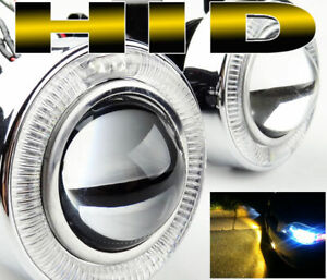 Universal 3 Bumper Halo Projector Led Fog Light W 3000k H11 Hid Kit Combo