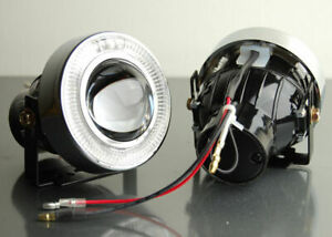 New Pair Of White Halo Projector Bumper Driving Clear Fog Lights Lamps