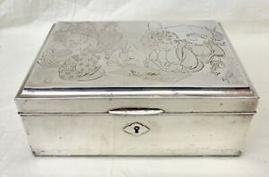 Japanese Chinese Magnificent 950 Sterling Silver Box Very Rare
