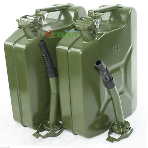 Lot 2 10l 2 5 Gallon Jerry Can Gas Fuel Steel Tank Green Military Nato Style