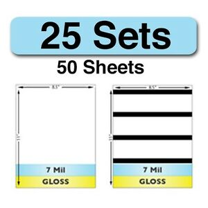 7 Mil Gloss Full Sheet Laminate Sets W Magnetic Stripes 25 Sets 50 Sheets