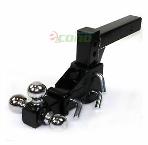 Tri Ball Adjustable Vertical Travel Solid Raise Drop W 2 Solid Tow Hitch Mount