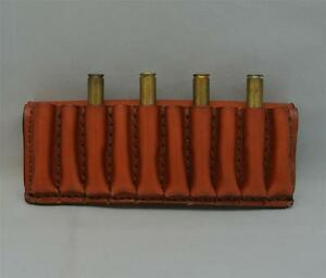 Real LEATHER RIFLE 10 CARTRIDGE CARRIER AMMO SLIDE FITS CAL 300243270 TAN
