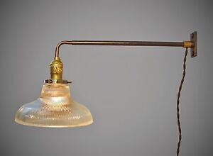 Vintage Industrial Wall Mount Light Holophane Ribbed Glass Lamp Shade