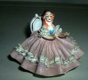 Antique Porcelain Figurine Lace Doll Ballerina Southern Belle Dress
