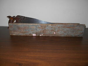 Early Antique Primitive Hand Saw In Old Painted Homemade Wood Holder