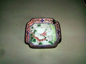 Antique Chinese Canton Enamel Plate Tray Famille Rose Palette 19th Century