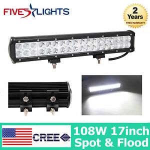 17inch 108w Cree Led Work Light Bar Flood Spot Combo Fog Off Road Truck Jeep Suv