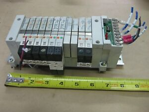 Smc Pneumatic Pcw Type 11 Valve Bank Lot Vq1101r 5 24vdc Serial Unit Sj1 Body