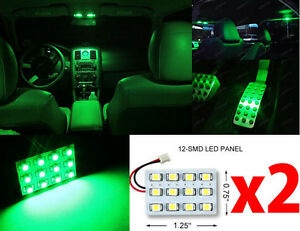 2x T10 Festoon Universal 12 Smd Neon Green Led Panel Interior Dome Map Light