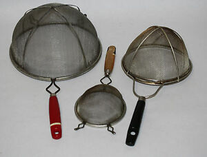 Set Of 3 Vintage Retro Mid Century Modern Mesh Kitchen Strainers Decor Usa