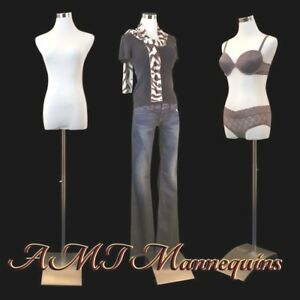 Female Display Manikin Dress Form 1 Cover stand White black New Torso fb 51