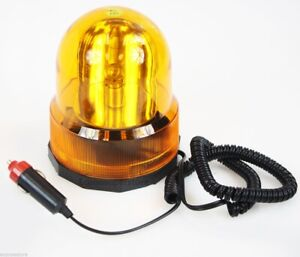 Revolving Amber Caution Yellow Light For Vehicles No Drill Magnetic Base New