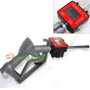 Fuel Gasoline Diesel Petrol Oil Gun Manual Nozzle Dispenser W digital Flow Meter