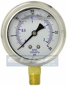 Liquid Filled Pressure Gauge 0 30 Psi 2 5 Face 1 4 Lower Mount Wog