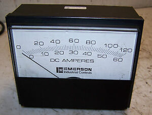 New Emerson Industrial Controls 3957 Panel Dc Amperes Meter 050mv 0 120 60