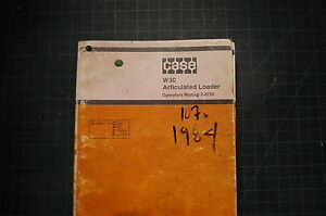 Case W30 Articulated Loader Operation Operator Manual Book Guide Shop Wheel Pay