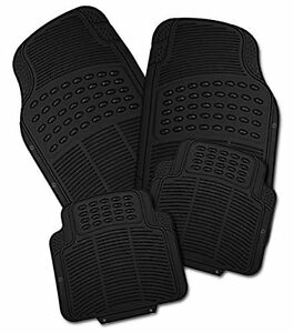 Zone Tech Black Car Rubber Floor Mats All Weather Heavy Duty 4pcs Trimmable Suv