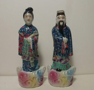 Pair Chinese Antique Porcelain Figurines Immortals In Cloud