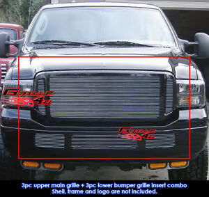 Fits Ford Excursion F250 F350 Sd Billet Grill Insert Combo 2005 2007