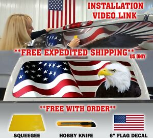 American Flag Eagle Pick Up Truck Rear Window Graphic Decal Vinyl Window Tint